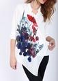 Soie Design Çiçek Desenli Şifon Gömlek Beyaz